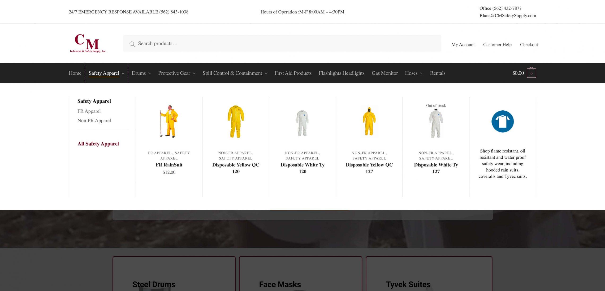 mega menu development for cm safety supply