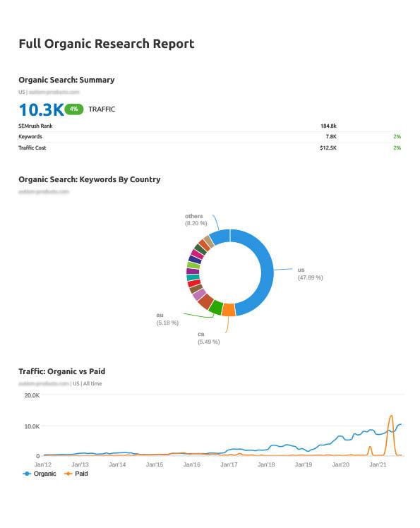 organic search traffic summary report